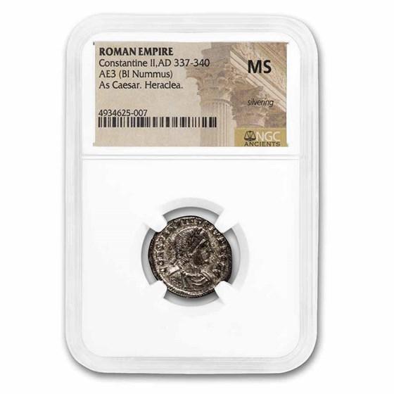 Roman Empire BI Nummus Constantine II 337-340 MS NGC (RIC VII 77)