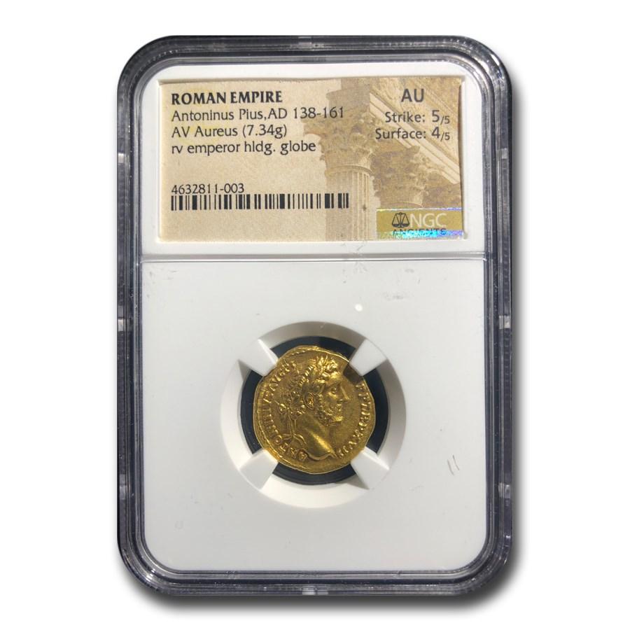 Roman Empire Gold Aureus Antoninus Pius (138-161 AD) AU NGC