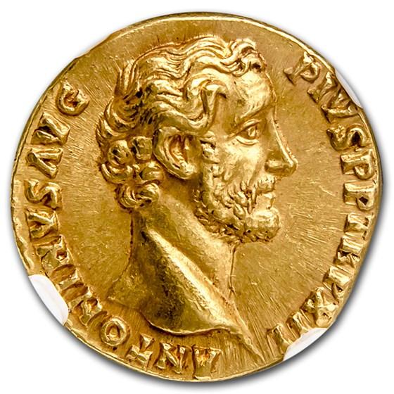 Roman Empire Gold Aureus Antoninus Pius Ch AU NGC (138-161 AD)