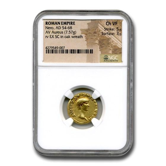 Roman Empire Gold Aureus Emperor Nero (54-68 AD) Ch VF NGC