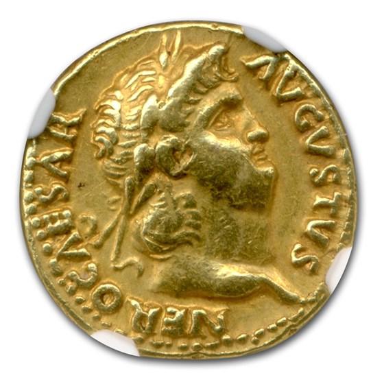 Roman Empire Gold Aureus Emperor Nero (54-68 AD) CH XF NGC