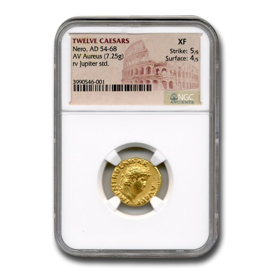 Roman Empire Gold Aureus Emperor Nero (54-68 AD) XF NGC
