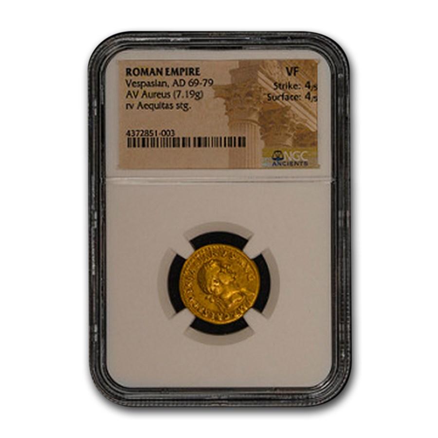 Roman Empire Gold Aureus Emperor Vespasian (69-79 AD) VF NGC