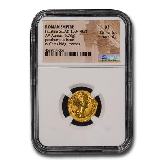 Roman Empire Gold Aureus Faustina Sr. (138-140/1 AD) XF NGC