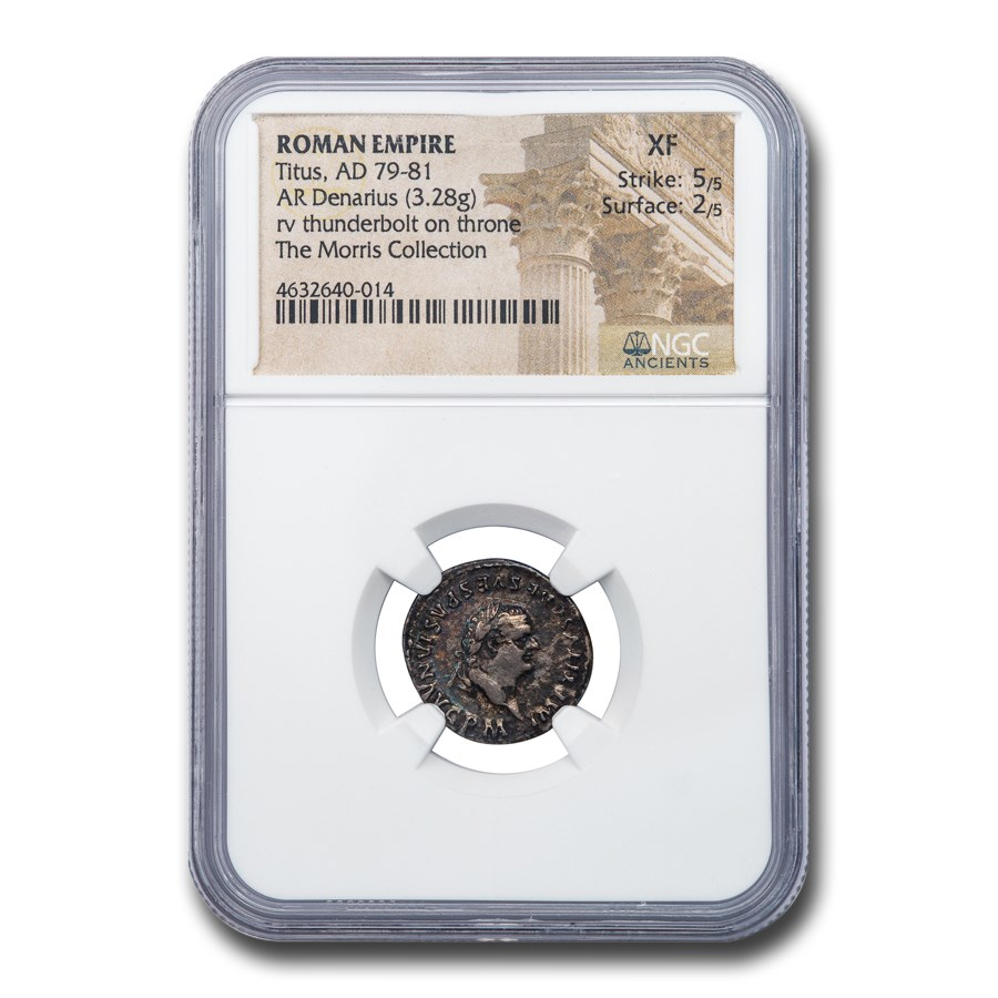 Roman Empire Silver Denarius Emperor Titus (79-81 AD) XF NGC