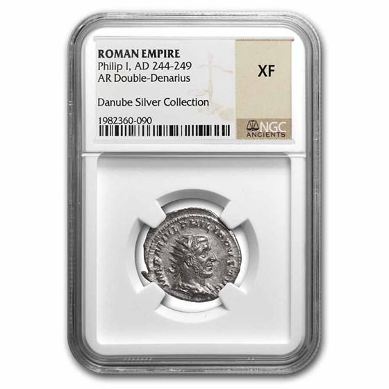 Roman Empire Silver Double Denarius Philip I (244-249 AD) XF NGC