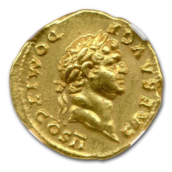 Roman Gold Aureus Emperor Domitian (81-96 AD) AU NGC