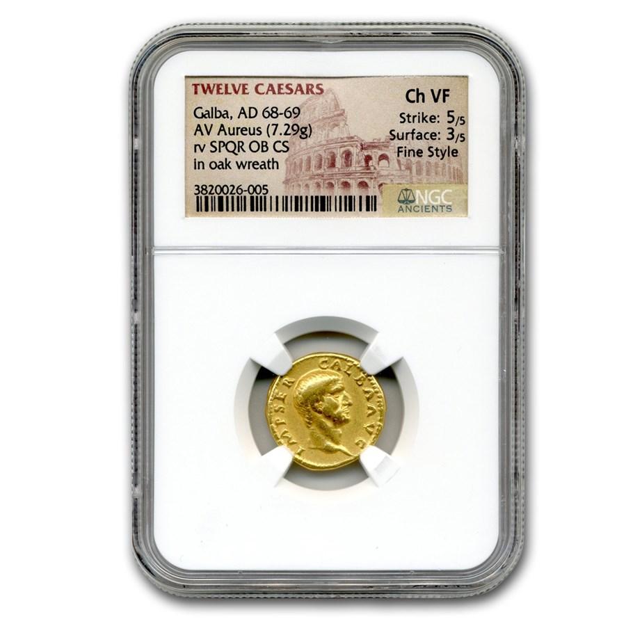 Roman Gold Aureus Emperor Galba (68-69 AD) Ch VF NGC (Fine Style)