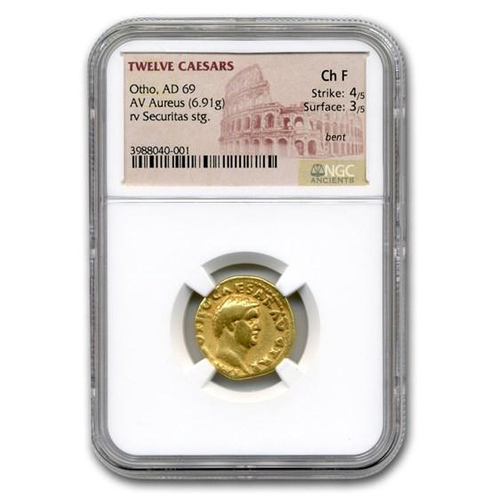 Roman Gold Aureus Emperor Otho (69 AD) CH Fine NGC