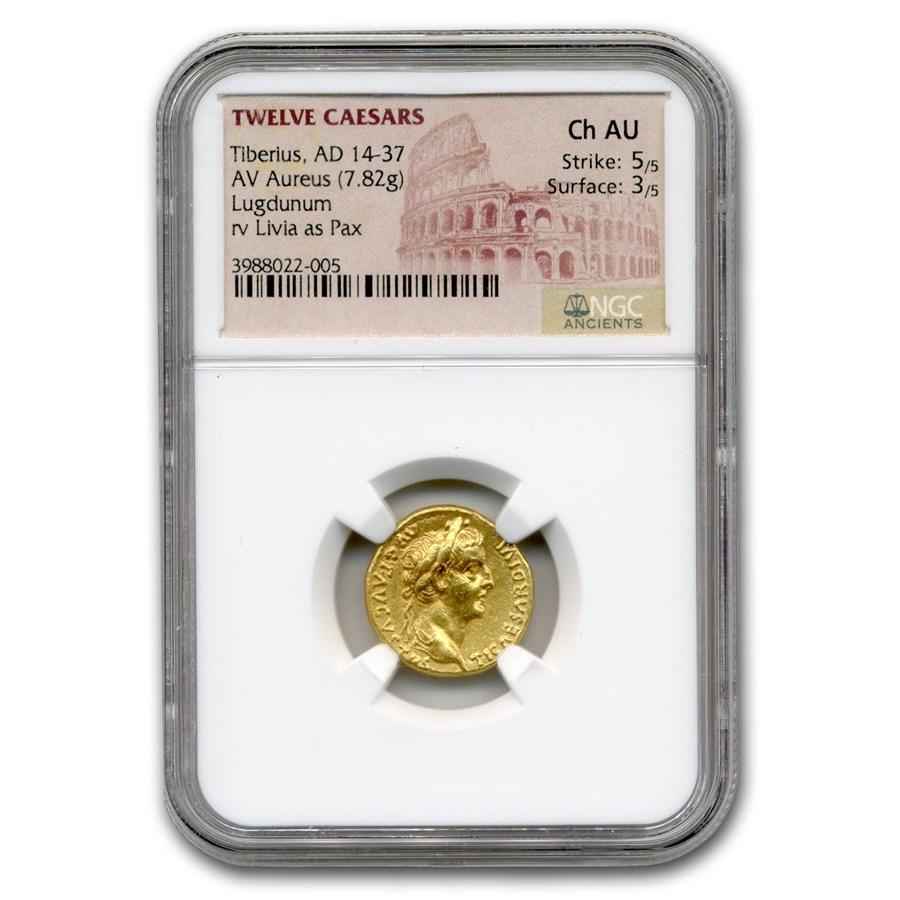 Roman Gold Aureus Emperor Tiberius (14-37 AD) CH AU NGC