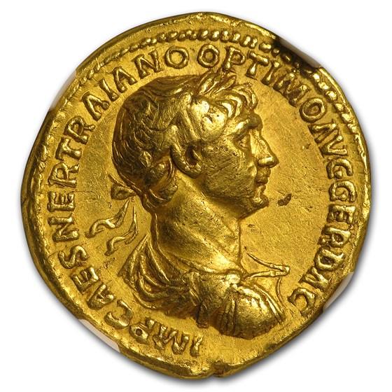 Roman Gold Aureus Emperor Trajan (98-117 AD) XF NGC