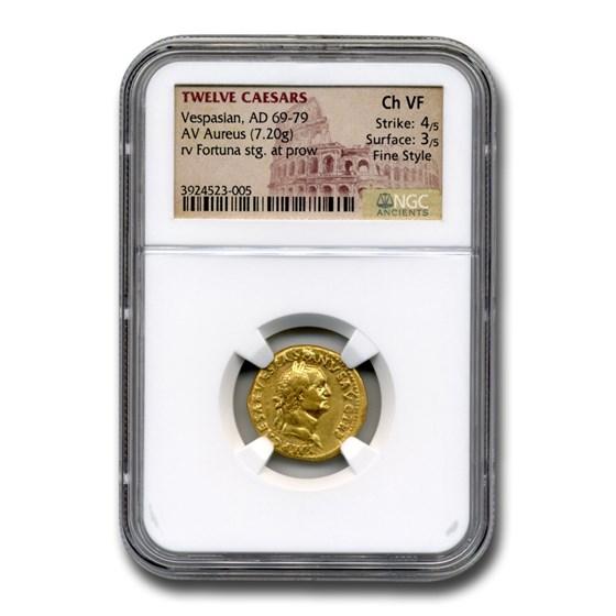 Roman Gold Aureus Emperor Vespasian (69-79 AD) Ch VF NGC