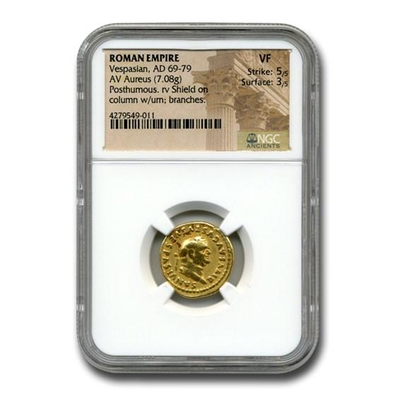 Roman Gold Aureus Emperor Vespasian (69-79 AD) VF NGC