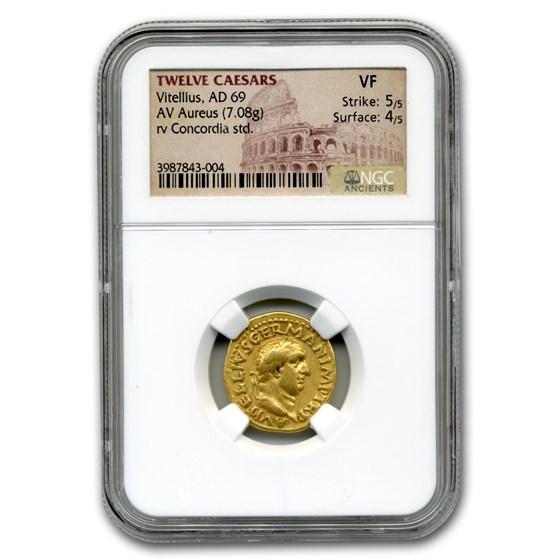 Roman Gold Aureus Emperor Vitellius (69 AD) VF NGC
