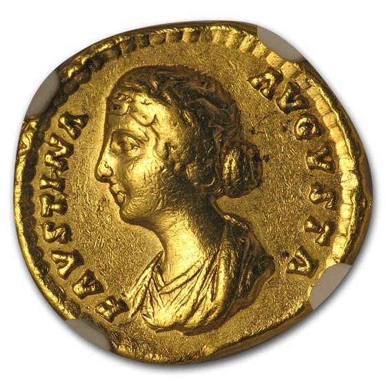 Roman Gold Aureus Faustina Jr. (147-75/6 AD) CH VF NGC