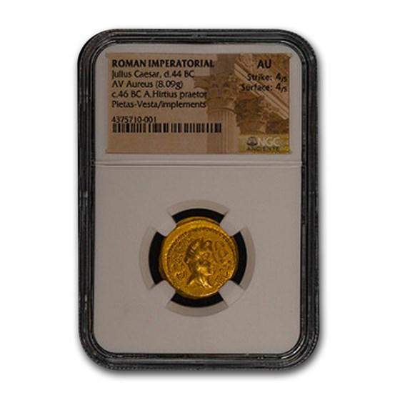 Roman Gold Aureus Julius Caesar (44 BC) AU NGC