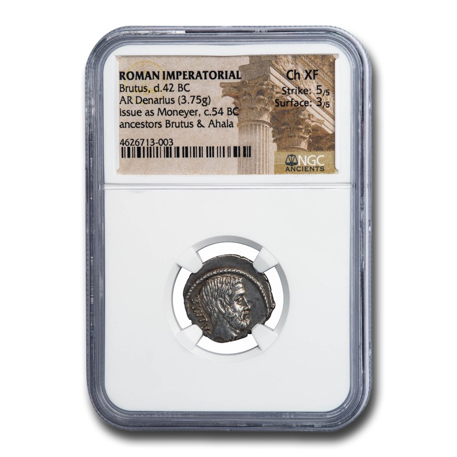 Roman Imperatorial AR Denarius Junius Brutus (42 BC) Ch XF NGC