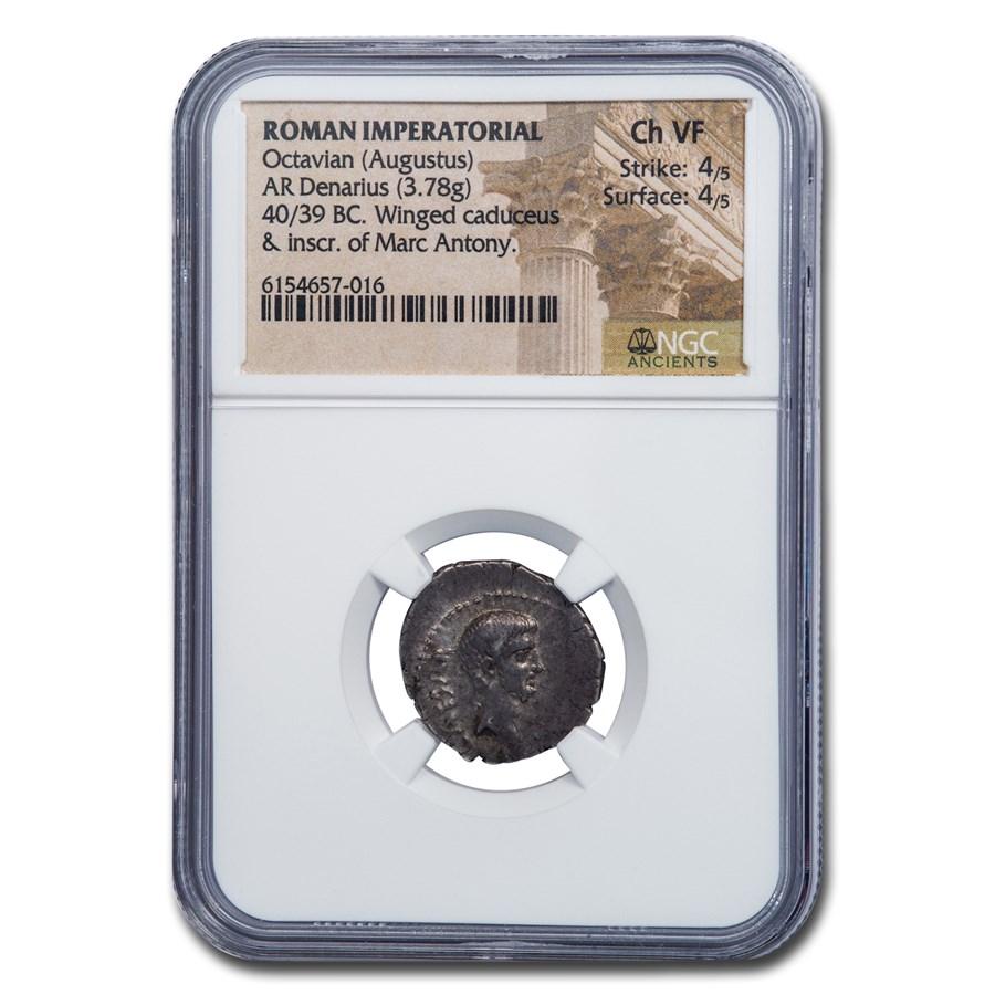 Roman Imperatorial Denarius Octavian 40 BC Ch VF NGC (Cra 529/2a)