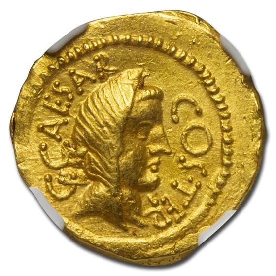 Roman Imperatorial Gold Aureus Julius Caesar (44 BC) AU NGC