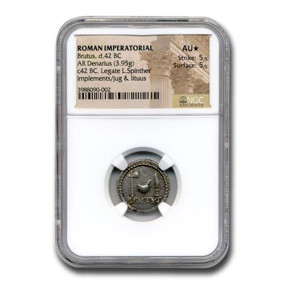 Roman Imperatorial Silver Denarius Brutus (42 BC) AU* NGC