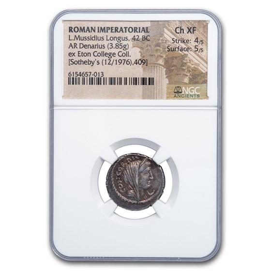 Roman Imperatorial Silver Denarius L. Muss Lon (42 BC) CH XF NGC
