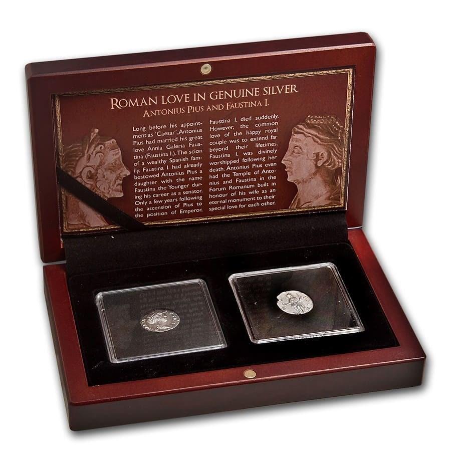 Roman Love 2-Coin Genuine Silver Pius and Faustina I Set