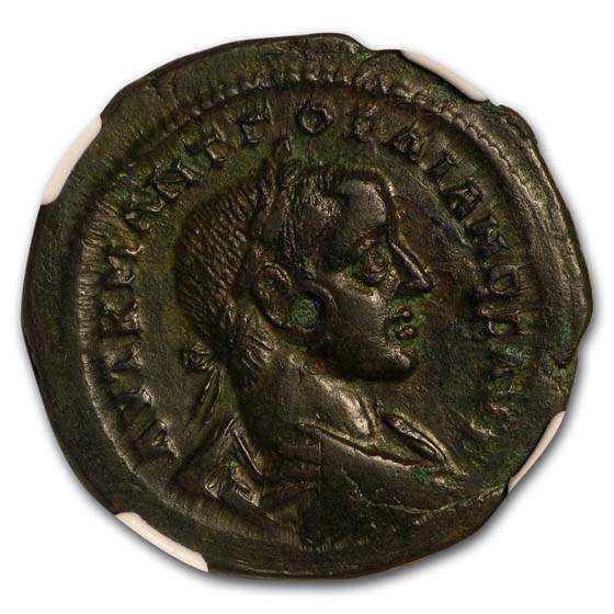 Roman Moesia AE29 Gordian III/Serpent (238-44 AD) Ch XF NGC