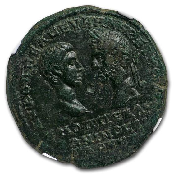 Roman Provencial Moesia AE 5 Macrinus & Diad. (217-18 AD) AU NGC