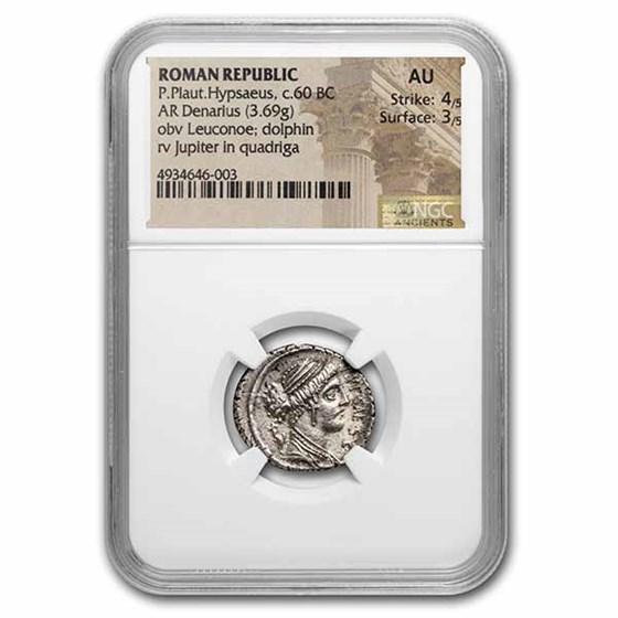 Roman Rep. AR Denarius P. Plat Hypsaeus 60 BC AU NGC (Cr-420/2a)