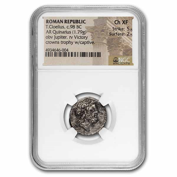 Roman Rep AR Denarius T. Colelius (c.98 BC) Ch XF NGC (Cr-332/1a)