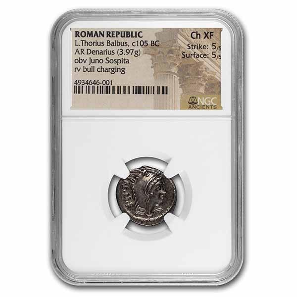 Roman Republic AR Denarius (105 BC) Ch XF NGC (Crawford 316/1)