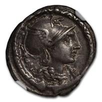 Roman Republic AR Denarius (113/2 BC) XF NGC (Crawford 295/1)