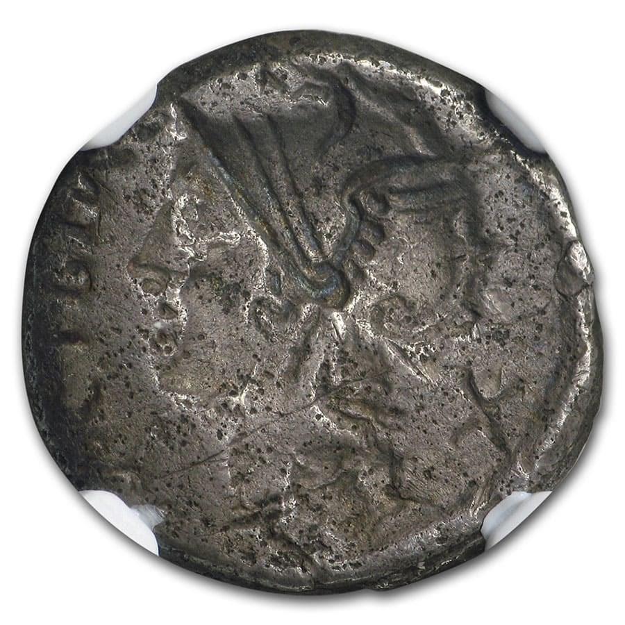 Roman Republic AR Denarius (115-114 BC) VF NGC (Brockage Error)