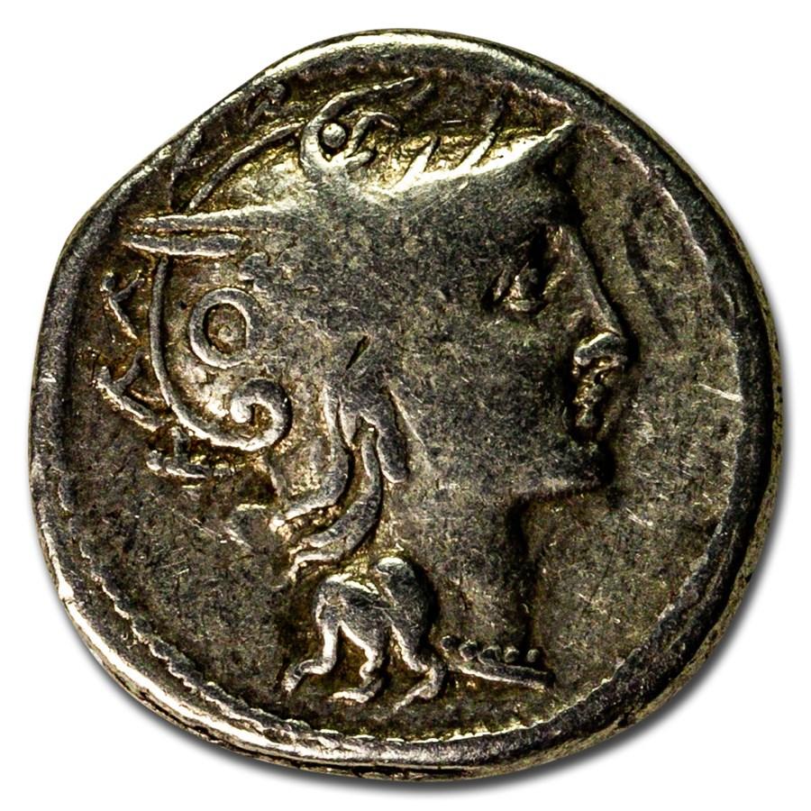 Roman Republic AR Denarius C. Pulcher (110-109 BC) VF