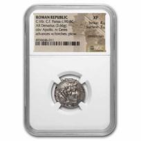 Roman Republic AR Denarius C. Vib Pansa (90 BC) XF NGC (Cr-449)