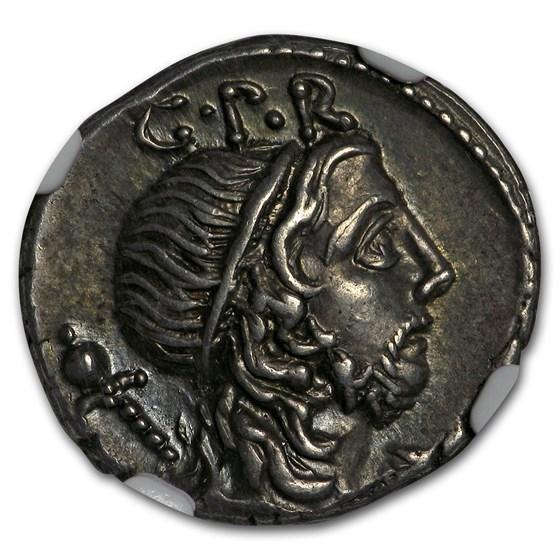 Roman Republic AR Denarius Consul Lentulus (76-75 BC) AU* NGC
