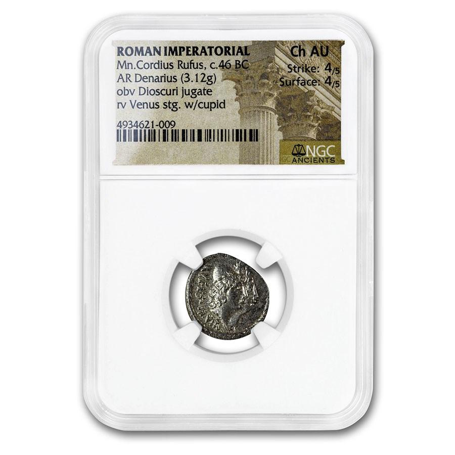 Roman Republic AR Denarius Cordius Rufus (46 BC) Ch AU NGC