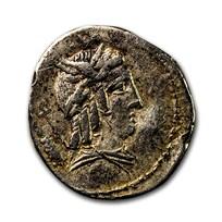 Roman Republic AR Denarius L. Bursio (85 BC) XF