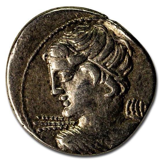 Roman Republic AR Denarius L. Macer (84 BC) XF
