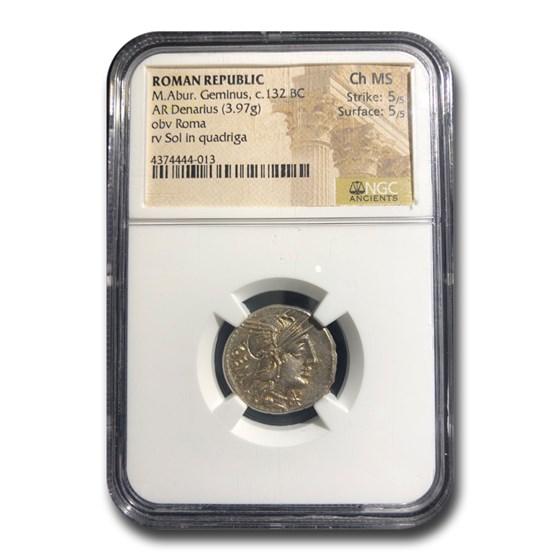 Roman Republic AR Denarius M. Abur. Geminus (132 BC) CH MS NGC