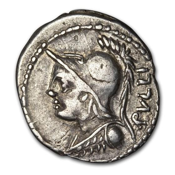 Roman Republic AR Denarius M.F. Rullus (c. 100 BC) VF