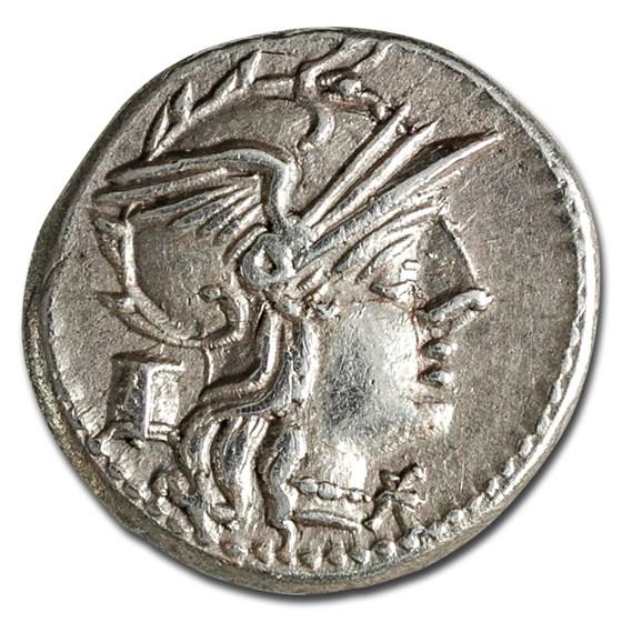 Roman Republic AR Denarius M. Marcius (134 BC) Ch XF (Cr-245/1)