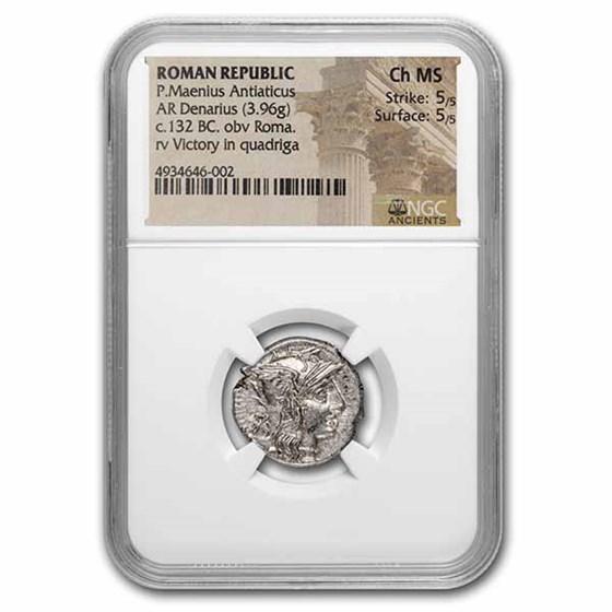 Roman Republic AR Denarius P. Mae. (c132 BC) CH MS NGC (Cr 249/1)