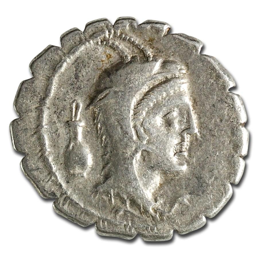 Roman Republic AR Denarius Serratus (79 BC) Ch XF (Cr-384/1)