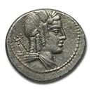 Roman Republic Denarius L. Julius Bursio 85 BC XF (Cr 352/1c)