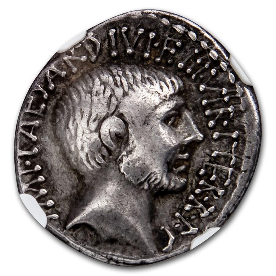 Roman Republic Octavian (Augustus) AR Denarius VF NGC (36 BC)