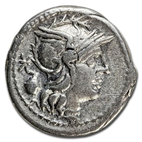 Roman Republic Silver AR Denarius C. Cassius (C.126 BC) Ch VF