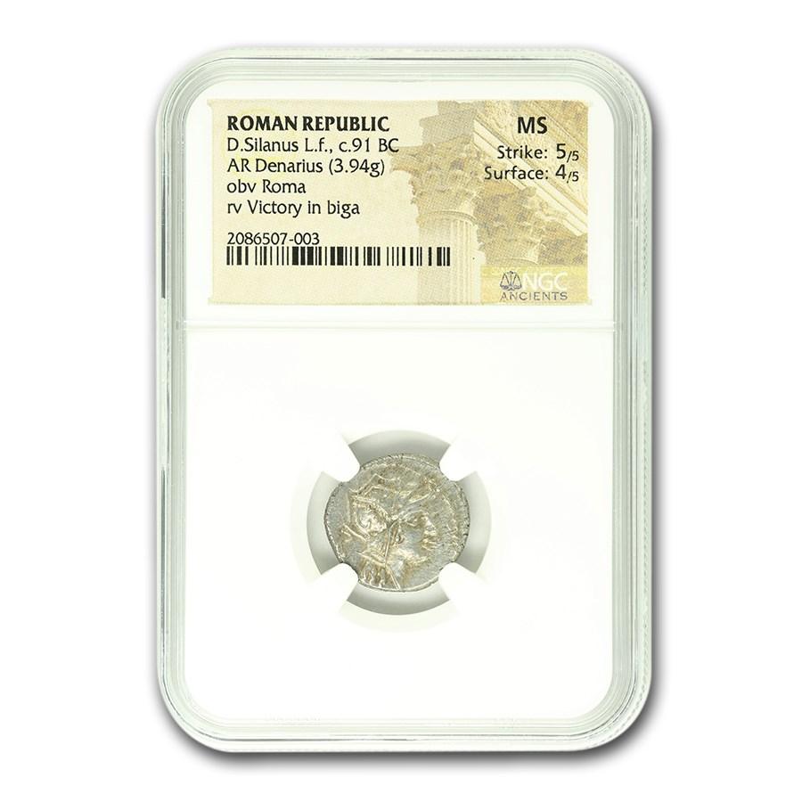 Roman Republic Silver AR Denarius D. Silanus/Roma (91 BC) MS NGC