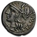 Roman Republic Silver AR Denarius M. Baebius (C.137 BC) CH XF