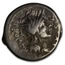 Roman Republic Silver Denarius (116-115 BC) VF (Crawford 286/1)